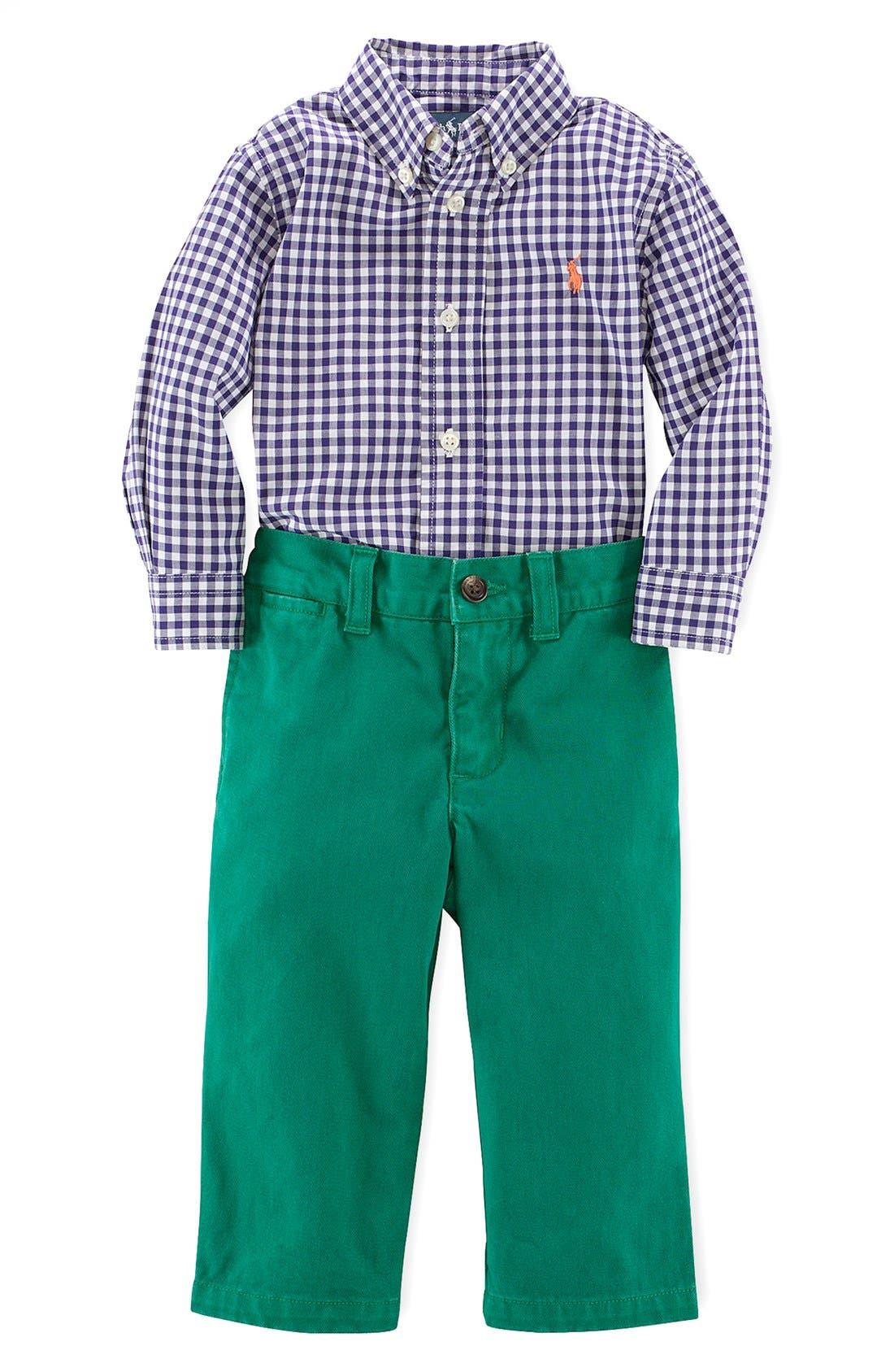 Alternate Image 1 Selected - Ralph Lauren Shirt & Chinos (Baby Boys)