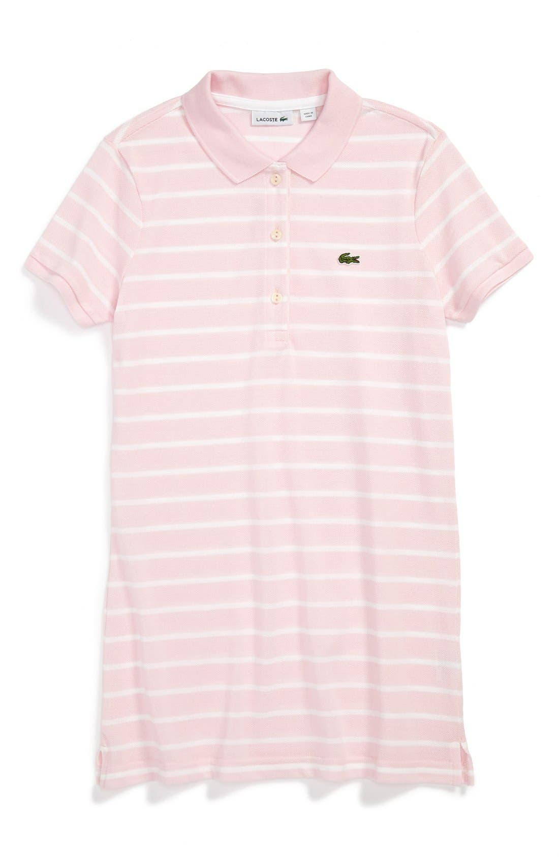 Alternate Image 1 Selected - Lacoste Stripe Tunic Polo (Little Girls & Big Girls)