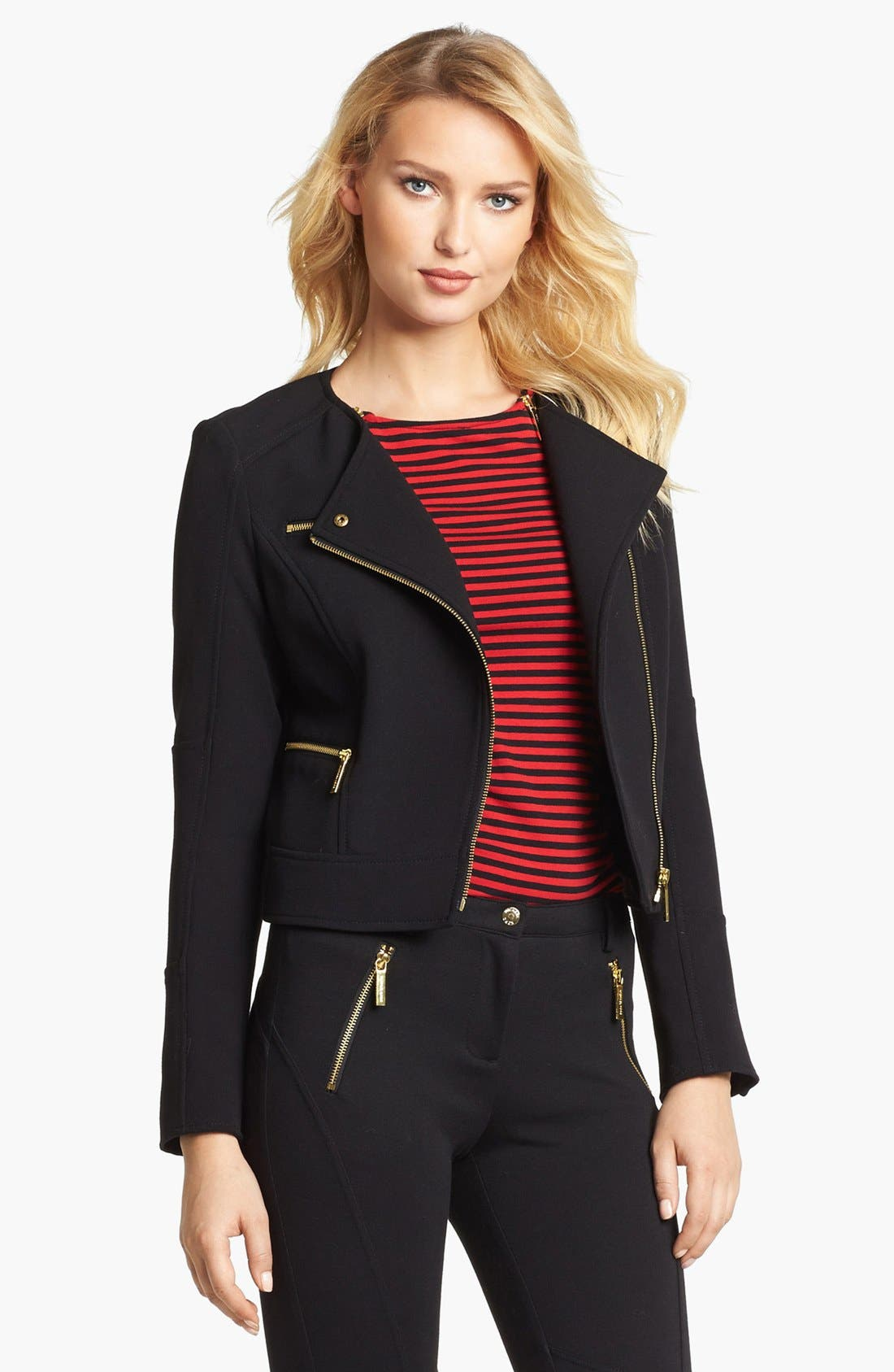 Main Image - MICHAEL Michael Kors Knit Moto Jacket