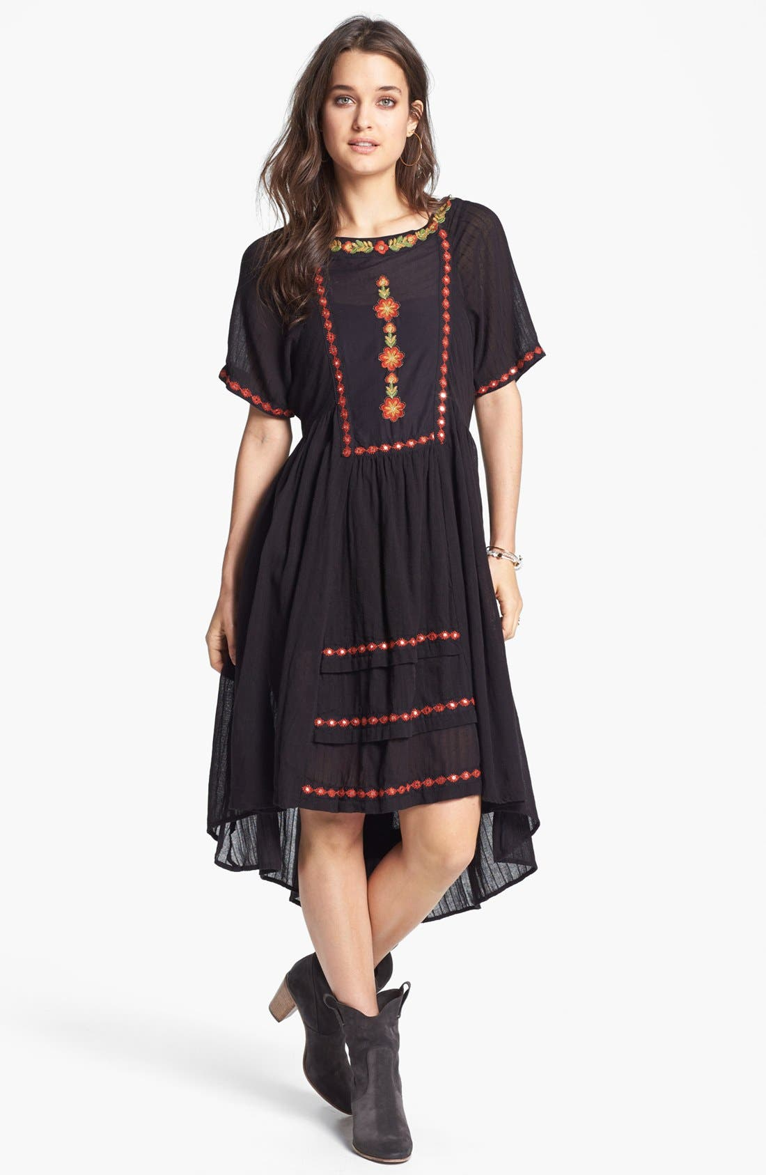 Main Image - Free People 'Folk' Embroidered Cotton High/Low Dress