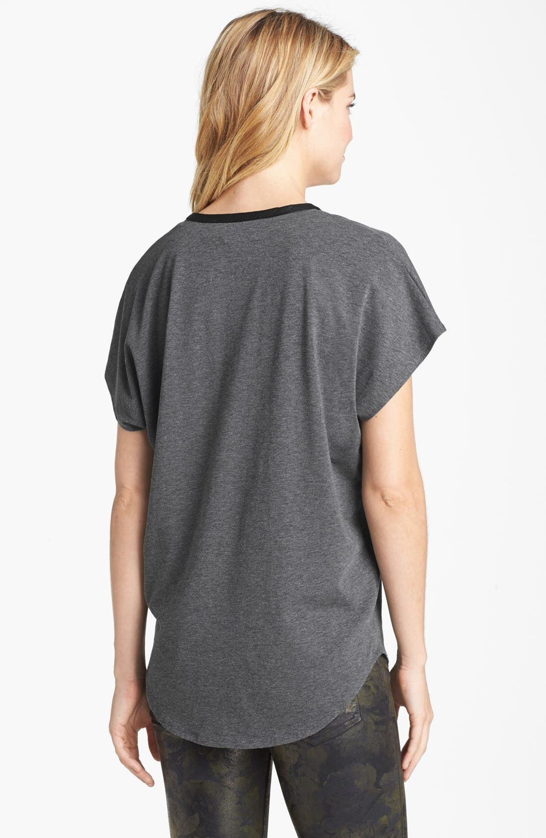 Alternate Image 2  - Two by Vince Camuto Faux Leather Trim Slouchy Tee