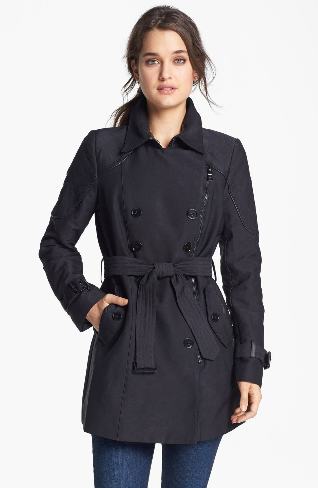 Alternate Image 1 Selected - Sam Edelman Quilted Shoulder Trench Coat