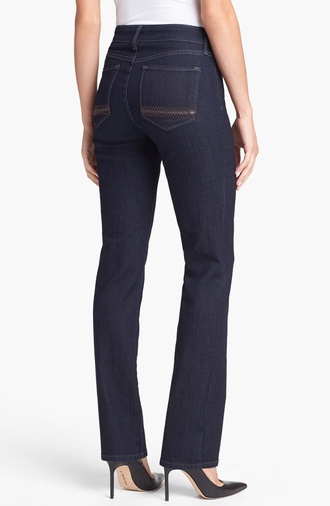 Alternate Image 3  - NYDJ 'Marilyn' Embellished Pocket Stretch Straight Leg Jeans (Dark Enzyme) (Regular & Petite)