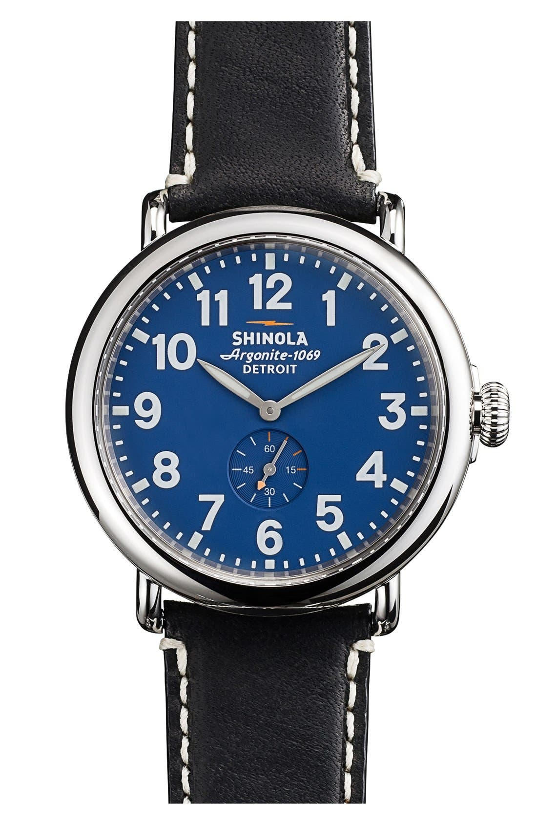 'The Runwell' Leather Strap Watch, 41mm,                         Main,                         color, Black/ Blue