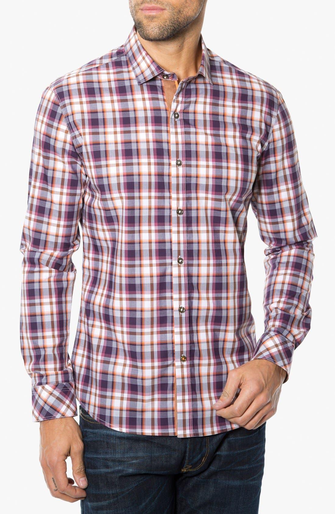 Main Image - 7 Diamonds 'Sun is Shining' Plaid Trim Fit Cotton Sport Shirt