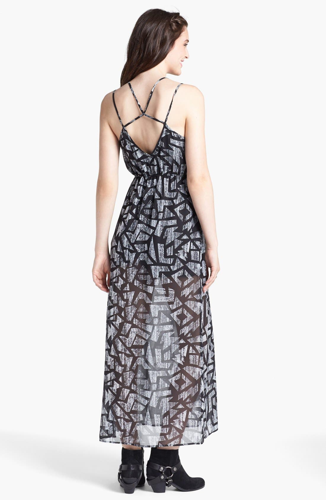 Alternate Image 2  - dee elle Print Strappy Maxi Dress (Juniors)