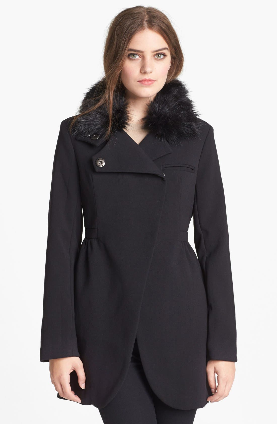 Alternate Image 1 Selected - bebe Asymmetrical Coat with Detachable Faux Fur Collar