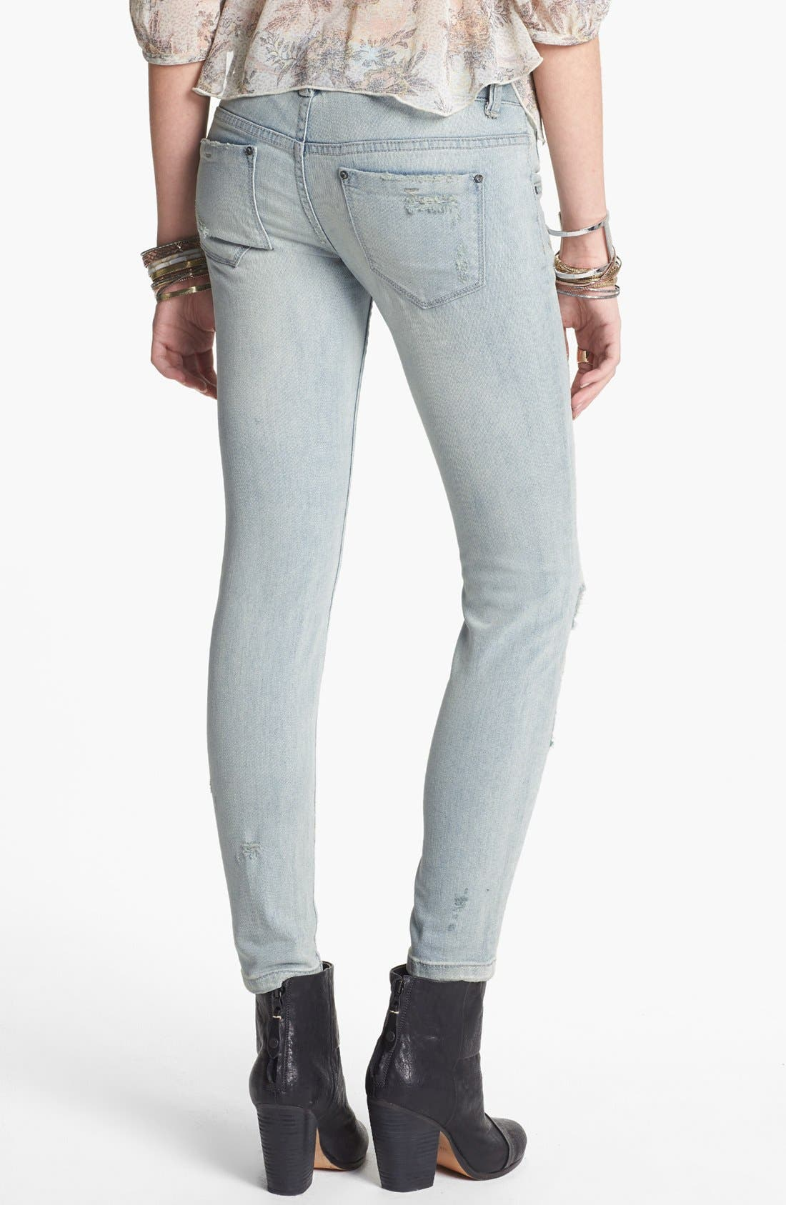 Alternate Image 2  - Free People Destroyed Stretch Skinny Jeans (Light Wash)