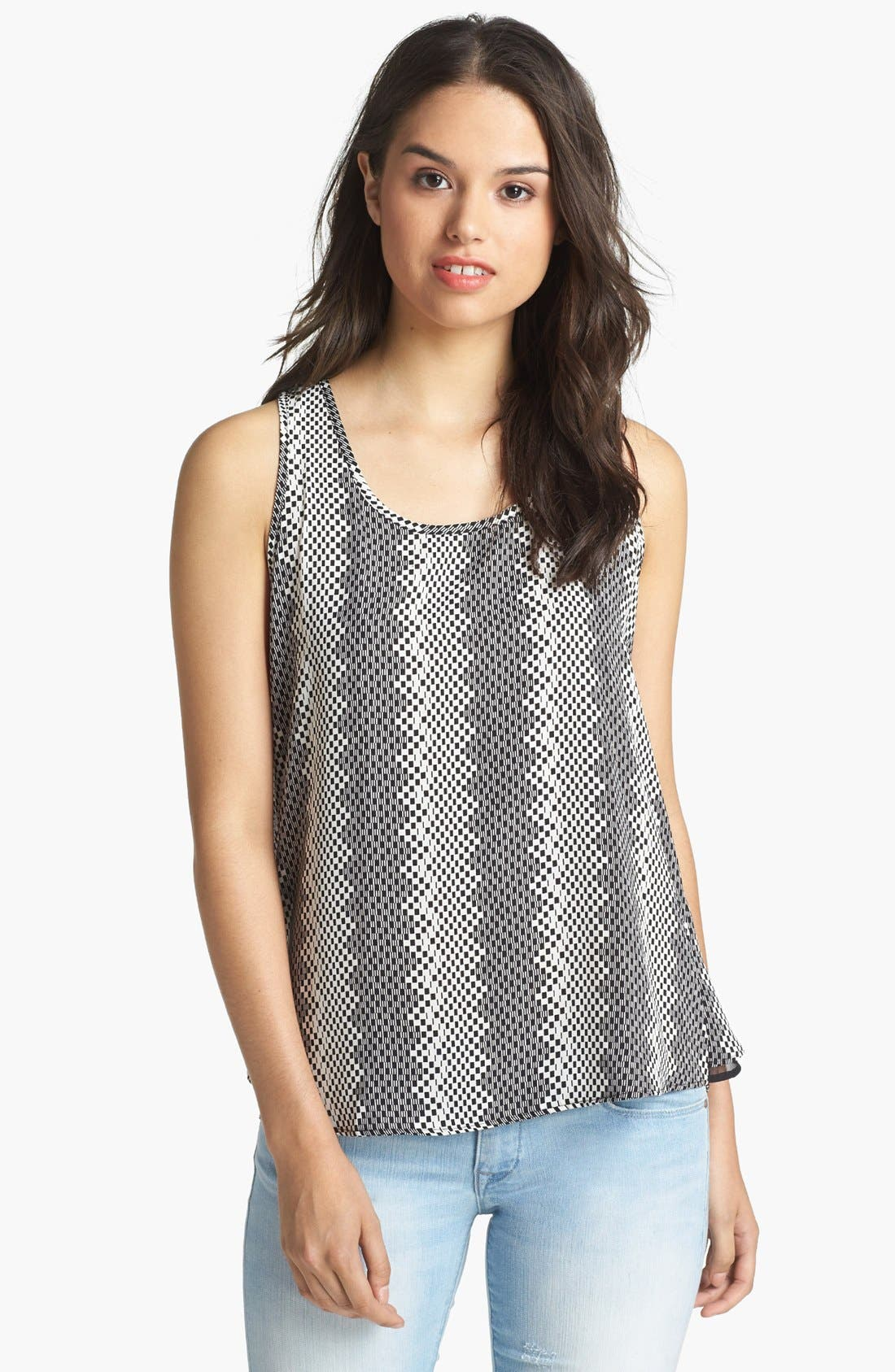 Alternate Image 1 Selected - Pleione Print Back Ruffle Tank
