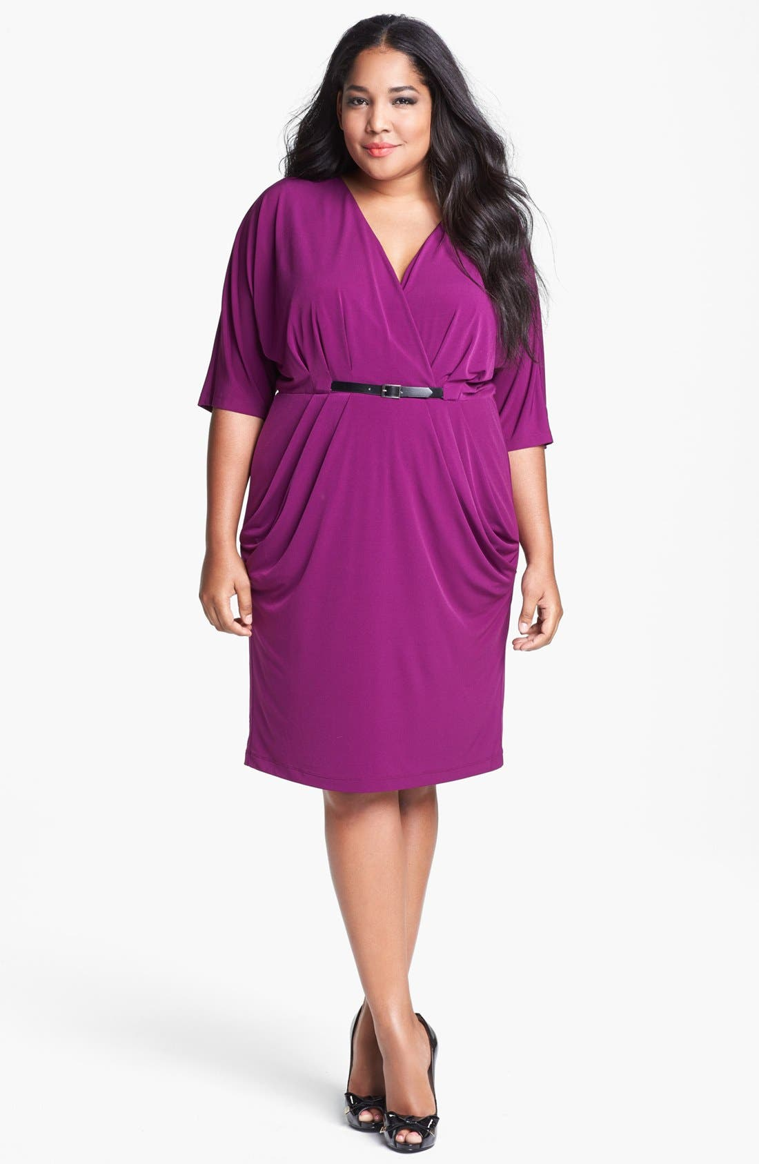 Alternate Image 1 Selected - Ivy & Blu Draped Dress (Plus Size)