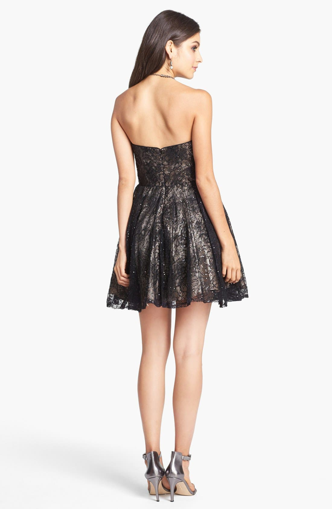 Alternate Image 2  - Sean Collection Embellished Lace Strapless Fit & Flare Dress