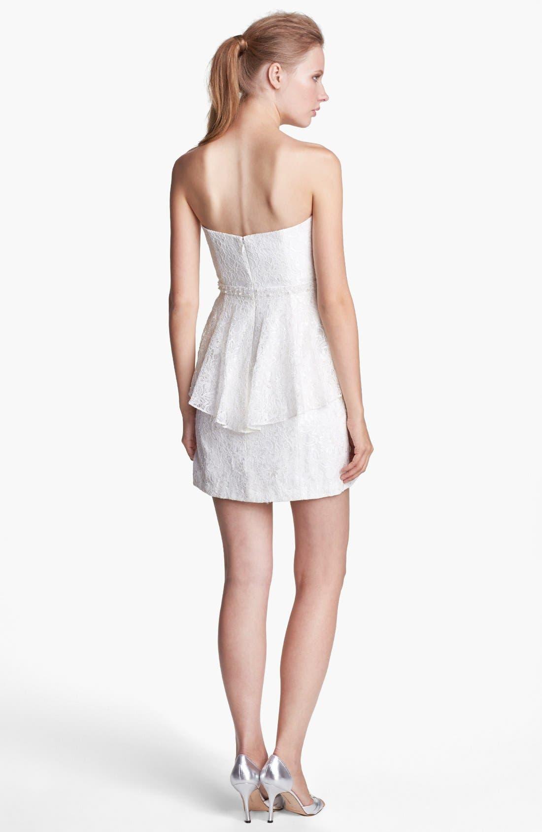 Alternate Image 2  - Aidan Mattox Strapless Lace Peplum Dress