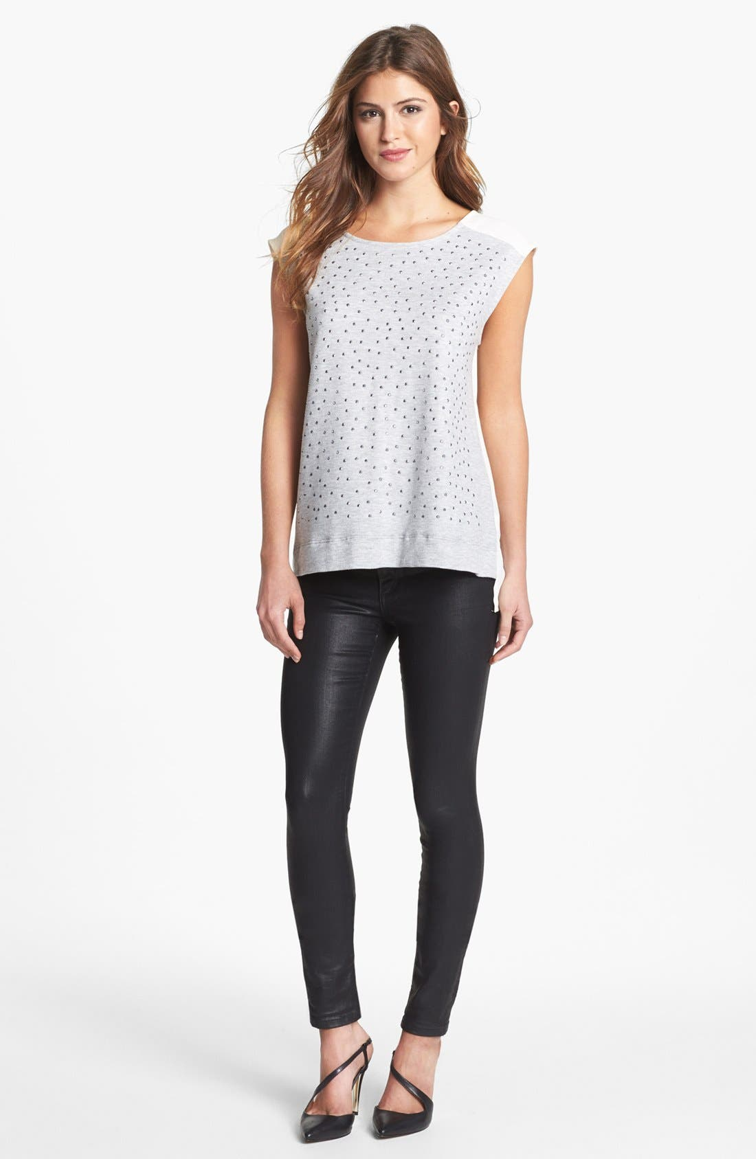 Main Image - Bobeau Studded Mixed Media Top