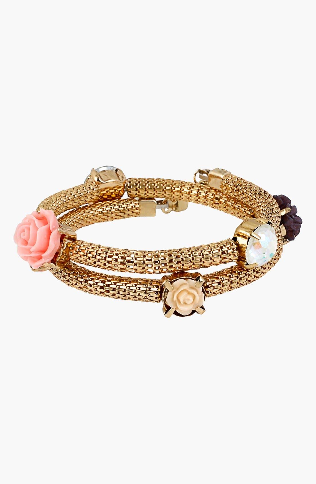 Main Image - Betsey Johnson 'Wear It Where?' Flower Coil Bracelet