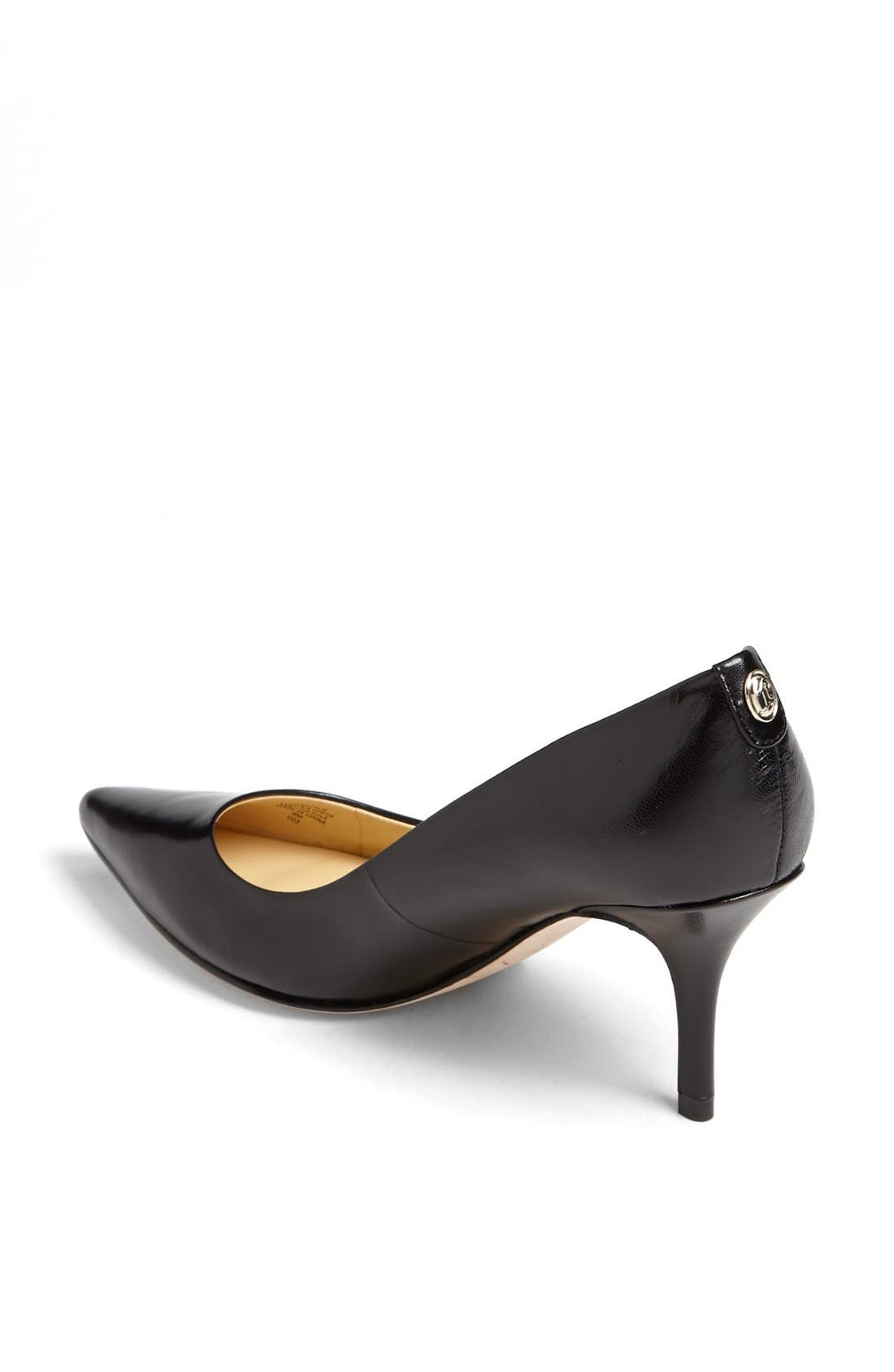 'Natalie' Pointed Toe Pump,                             Alternate thumbnail 2, color,                             Black Leather