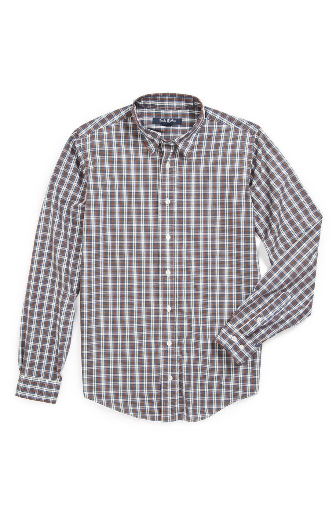 Alternate Image 1 Selected - Brooks Brothers Plaid Dress Shirt (Big Boys)