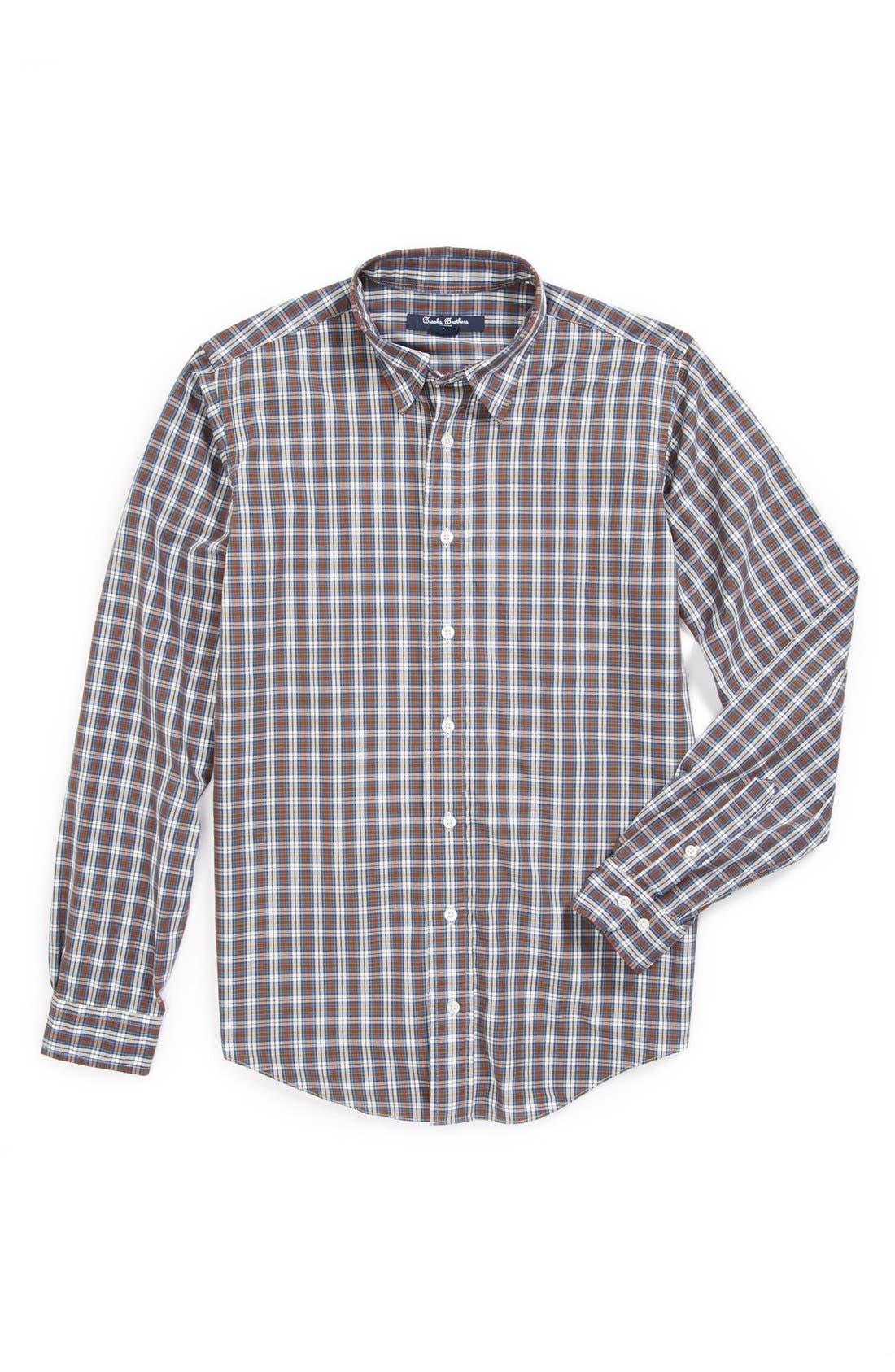 Main Image - Brooks Brothers Plaid Dress Shirt (Big Boys)