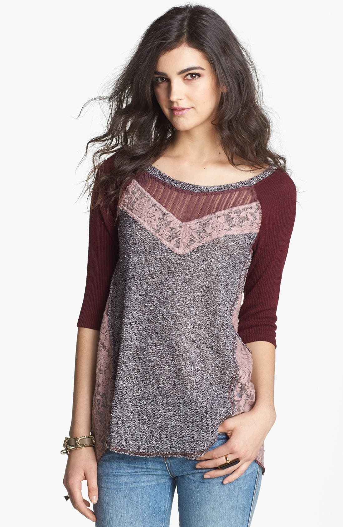 Main Image - Free People 'Mix Up' Hacci Top