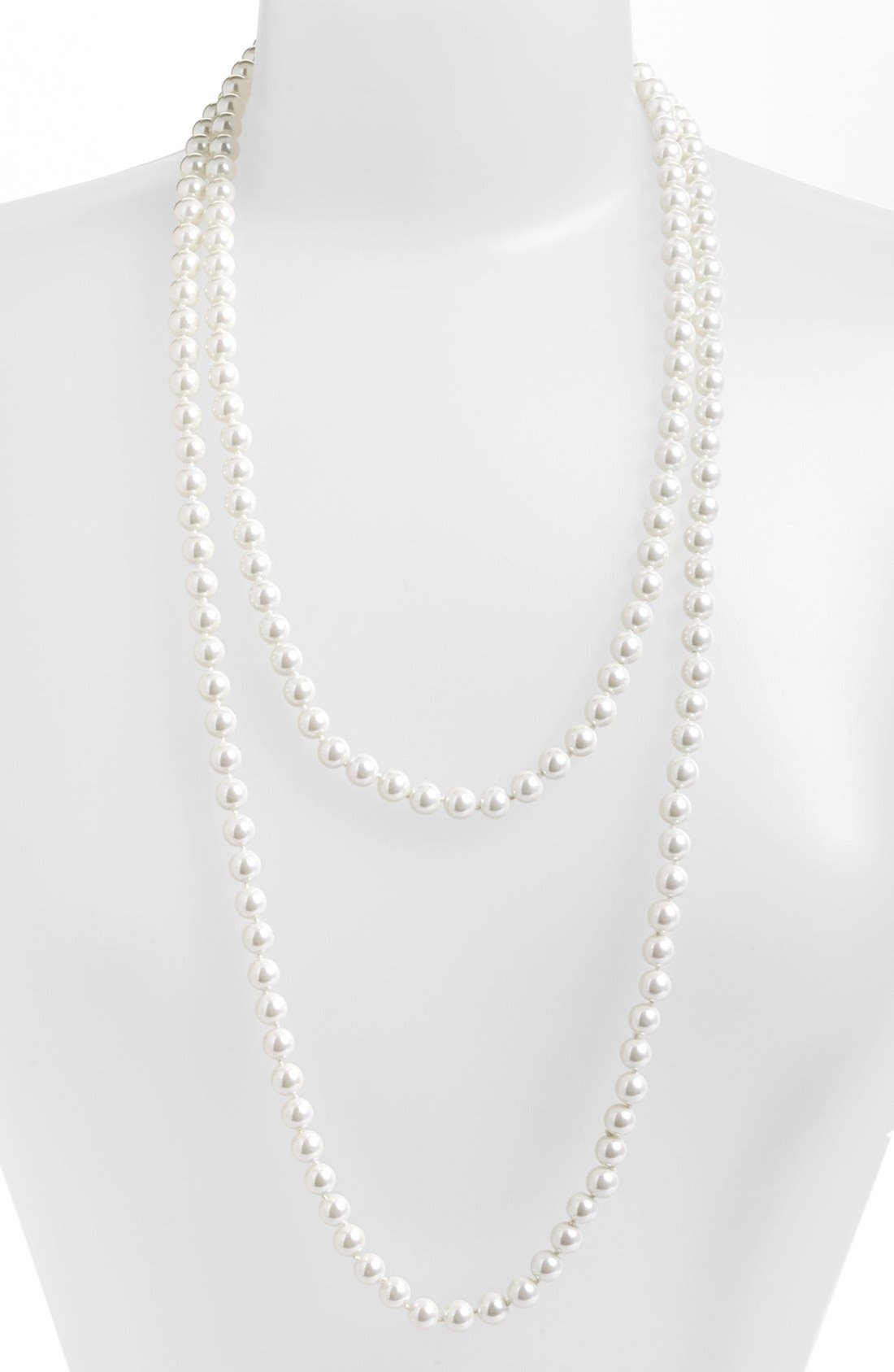 Alternate Image 2  - Lauren Ralph Lauren Long Glass Pearl Rope Necklace