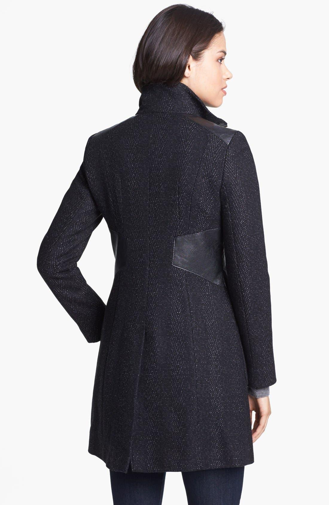 Alternate Image 2  - Via Spiga Faux Leather Trim Tweed Coat (Petite)