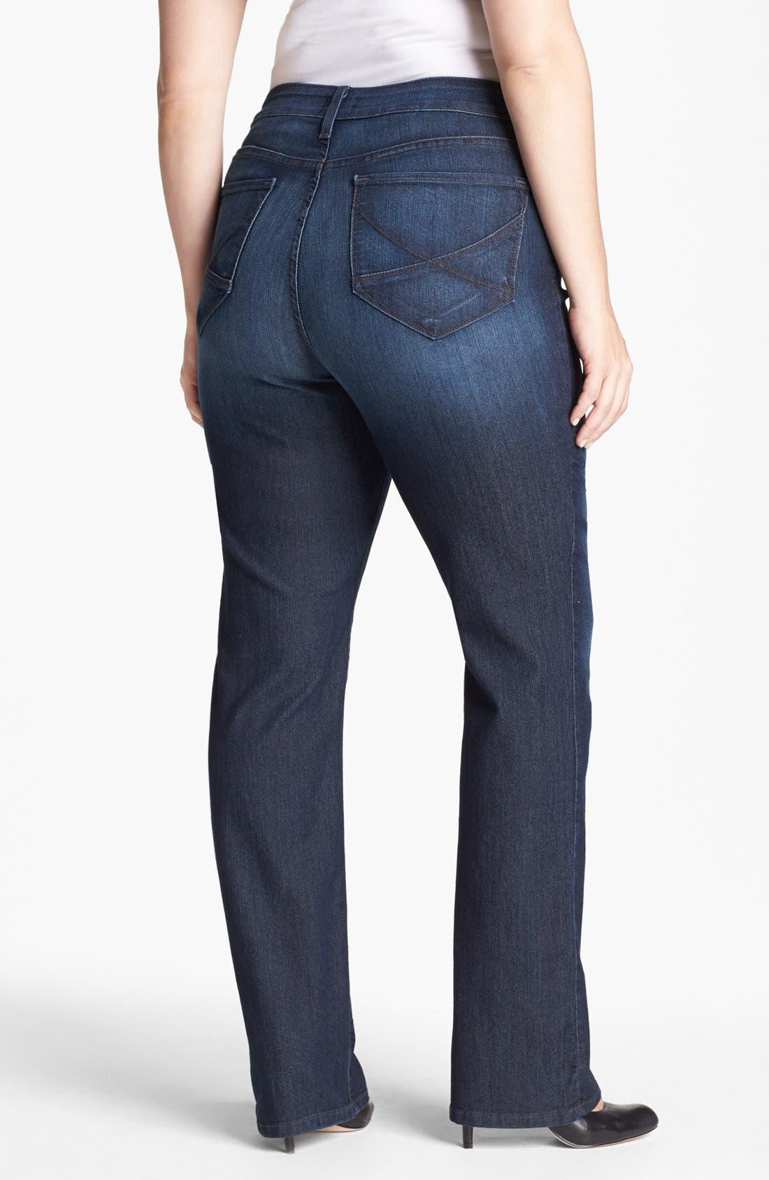 Alternate Image 2  - NYDJ 'Hayden' Stretch Straight Leg Jeans (Burbank) (Plus Size)