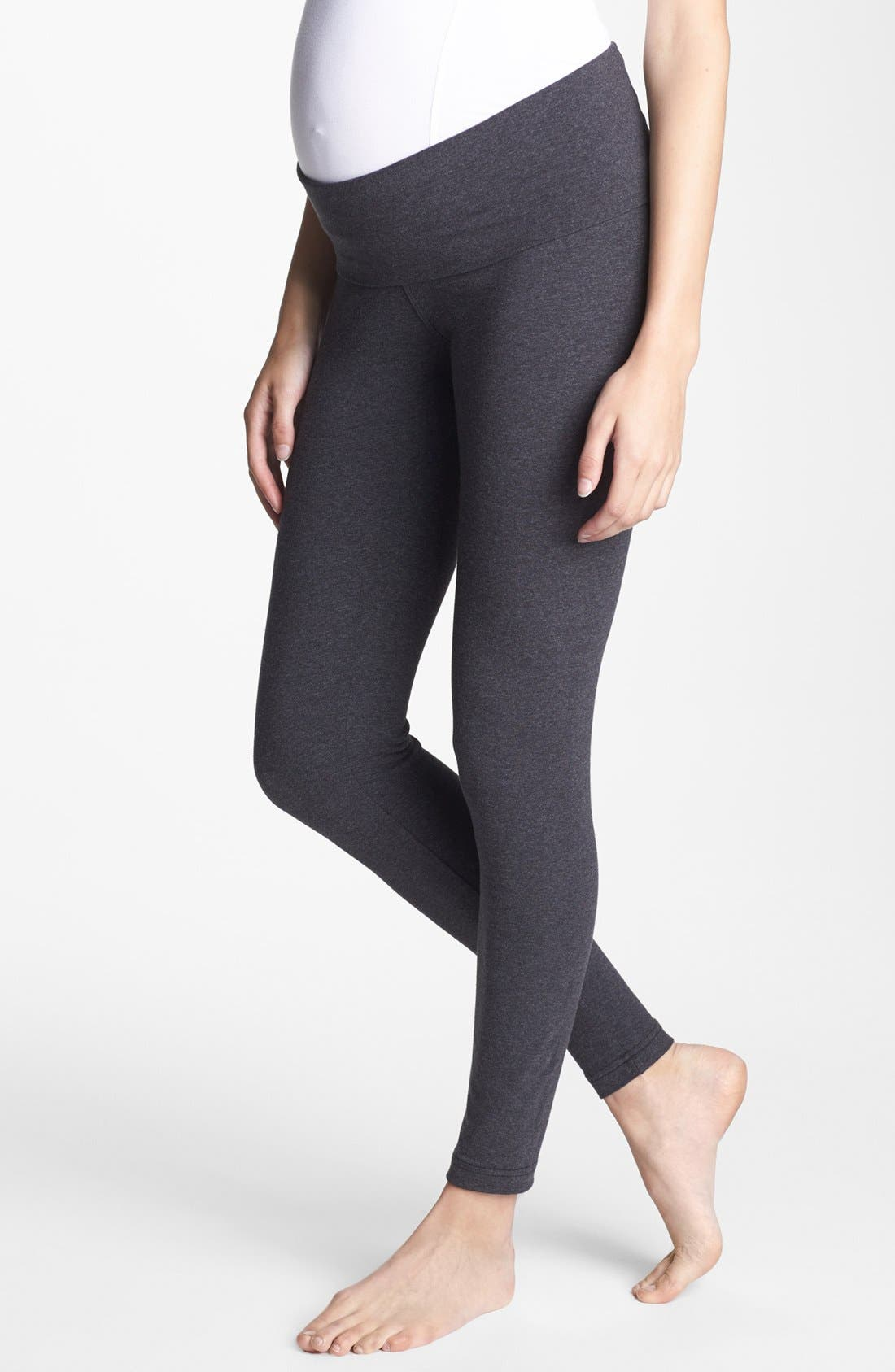 Alternate Image 1 Selected - Hard Tail Roll Waist Maternity Leggings