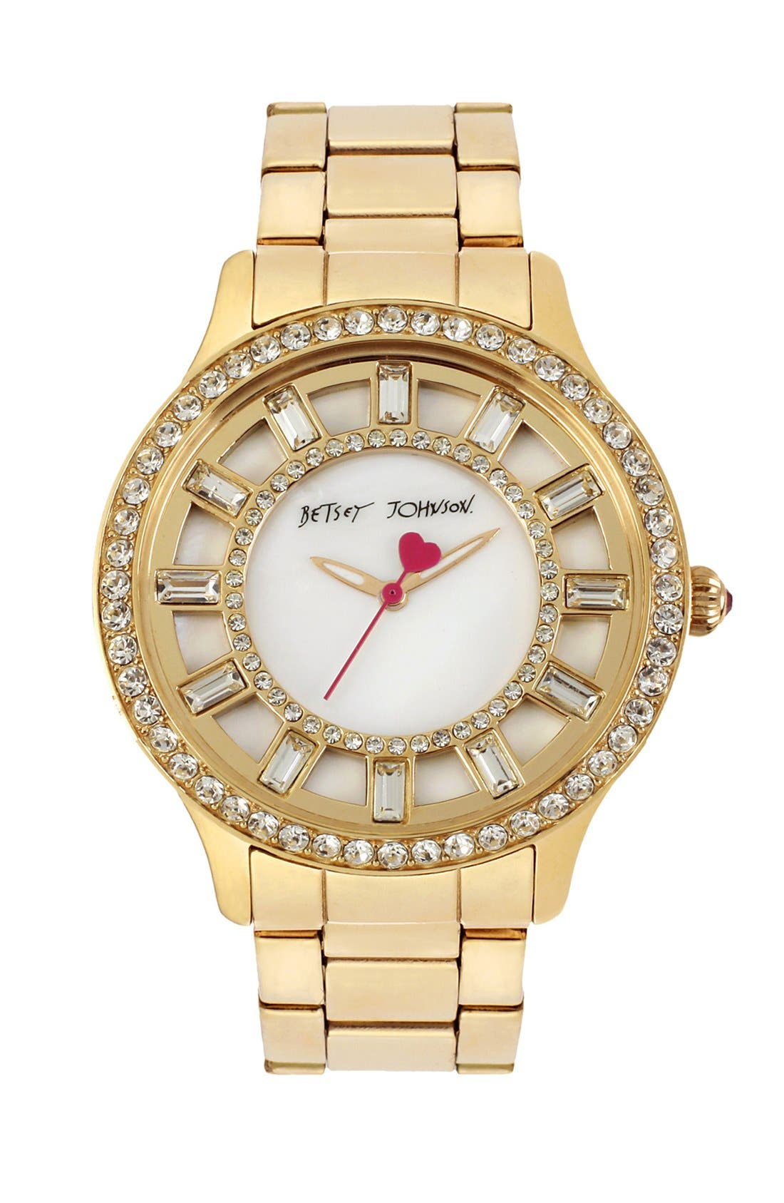 Main Image - Betsey Johnson Crystal Accent Bracelet Watch, 40mm