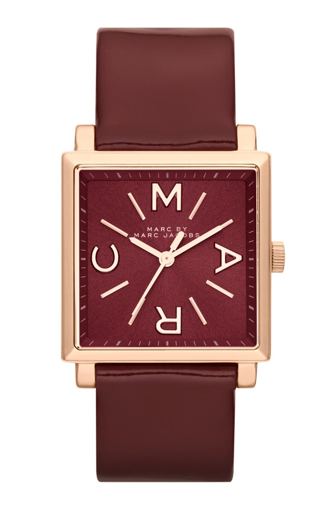 Main Image - MARC BY MARC JACOBS 'Truman' Square Leather Strap Watch, 30mm