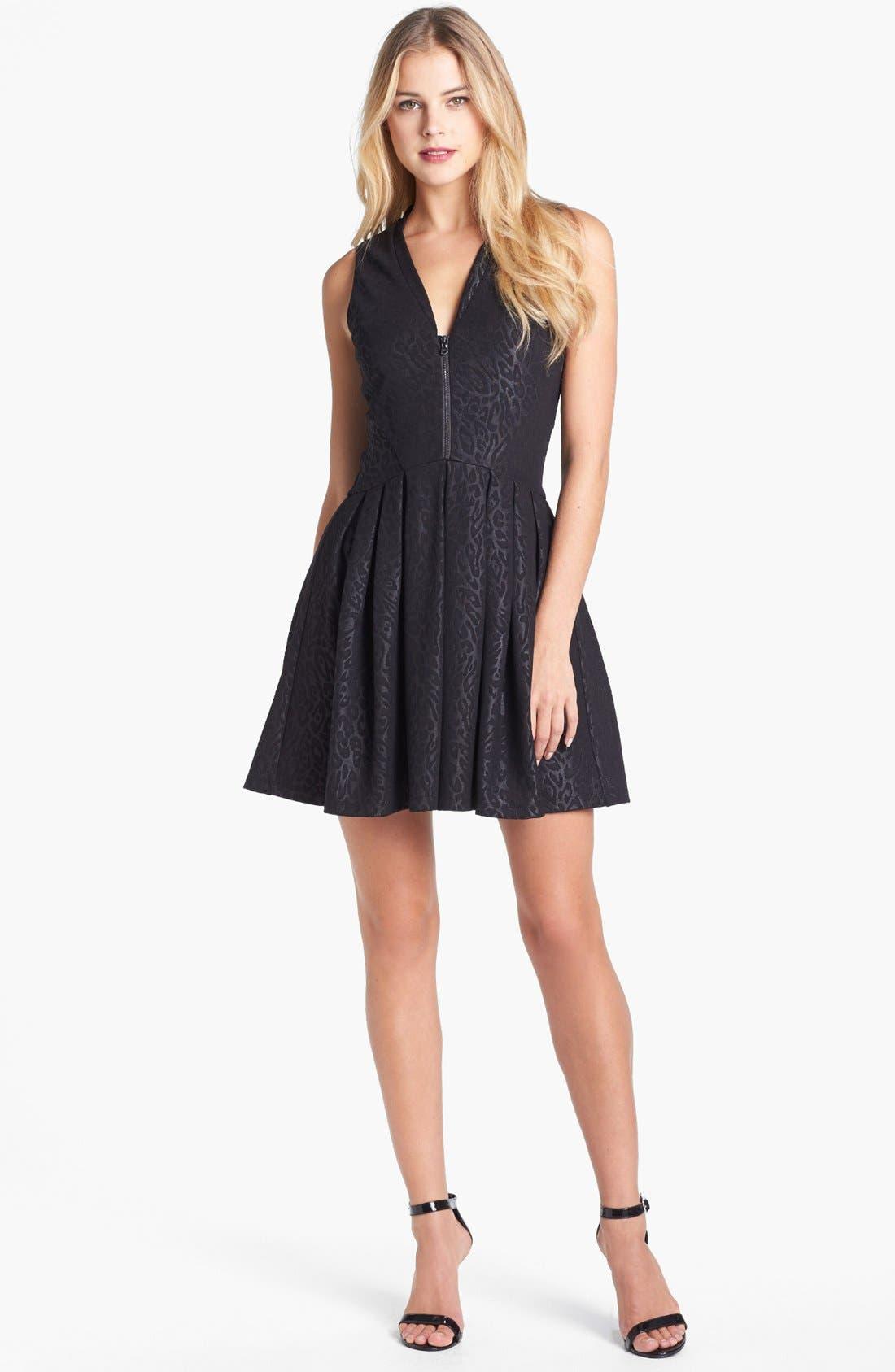 Main Image - GUESS Jacquard Ponte Knit Fit & Flare Dress