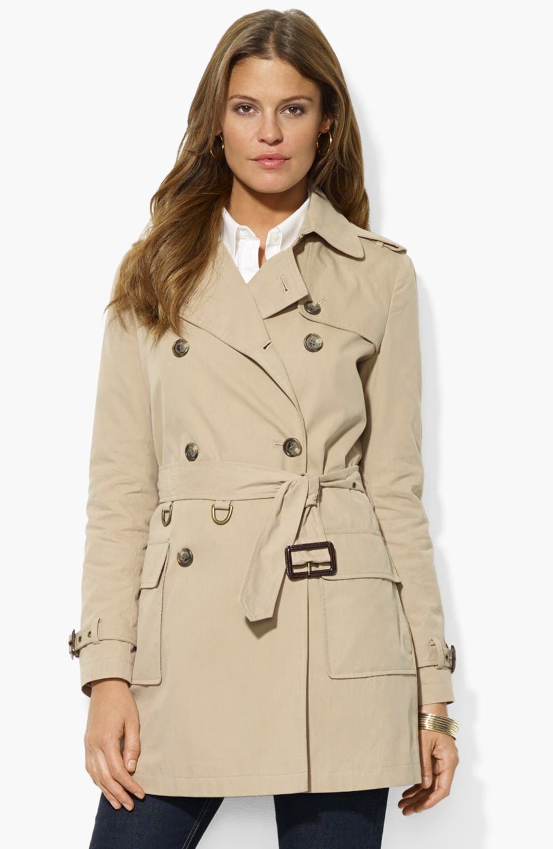 Double Breasted Trench Coat,                             Main thumbnail 1, color,                             Racing Khaki