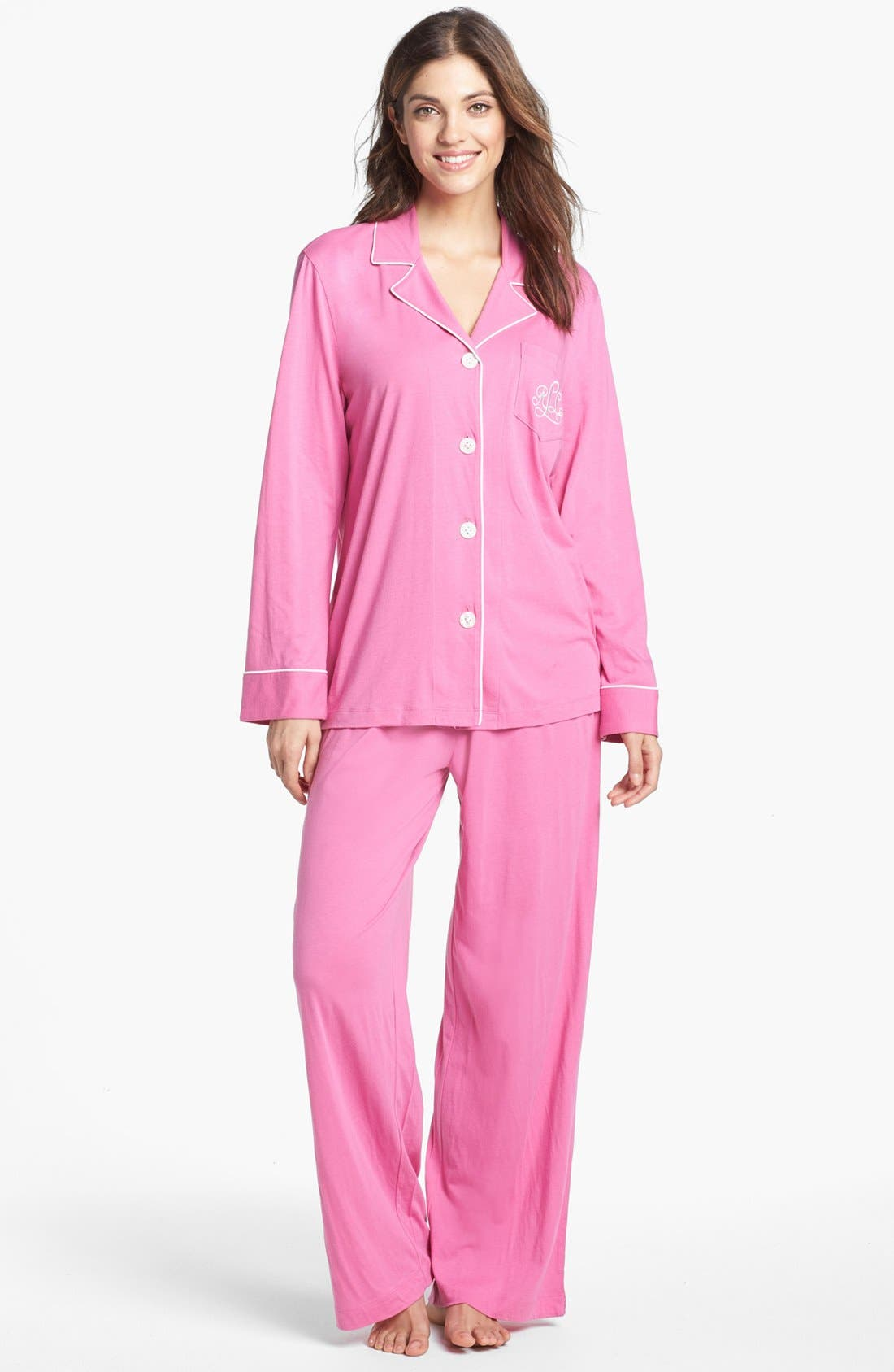 Knit Pajamas,                             Main thumbnail 1, color,                             Portofino Pink