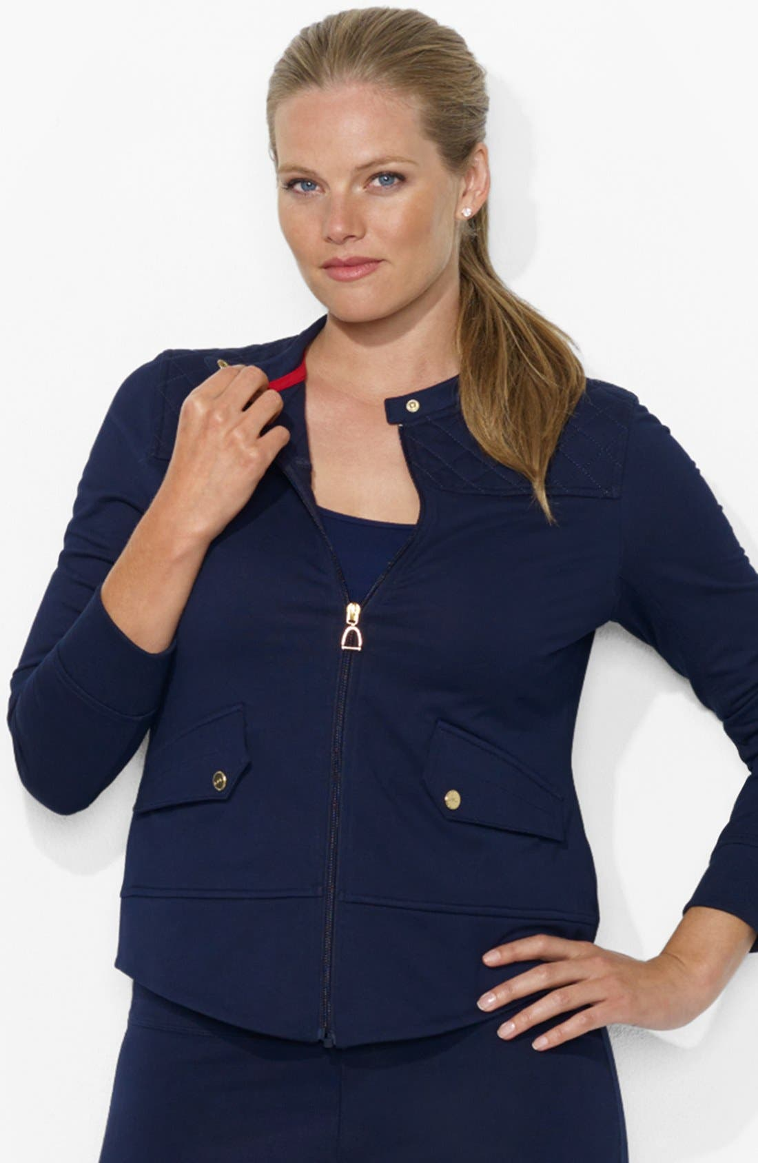 Alternate Image 1 Selected - Lauren Ralph Lauren Track Jacket (Plus Size)
