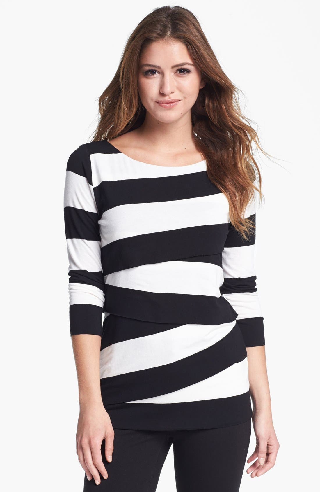 Alternate Image 1 Selected - Vince Camuto Asymmetrical Tiered Stripe Tee (Petite)