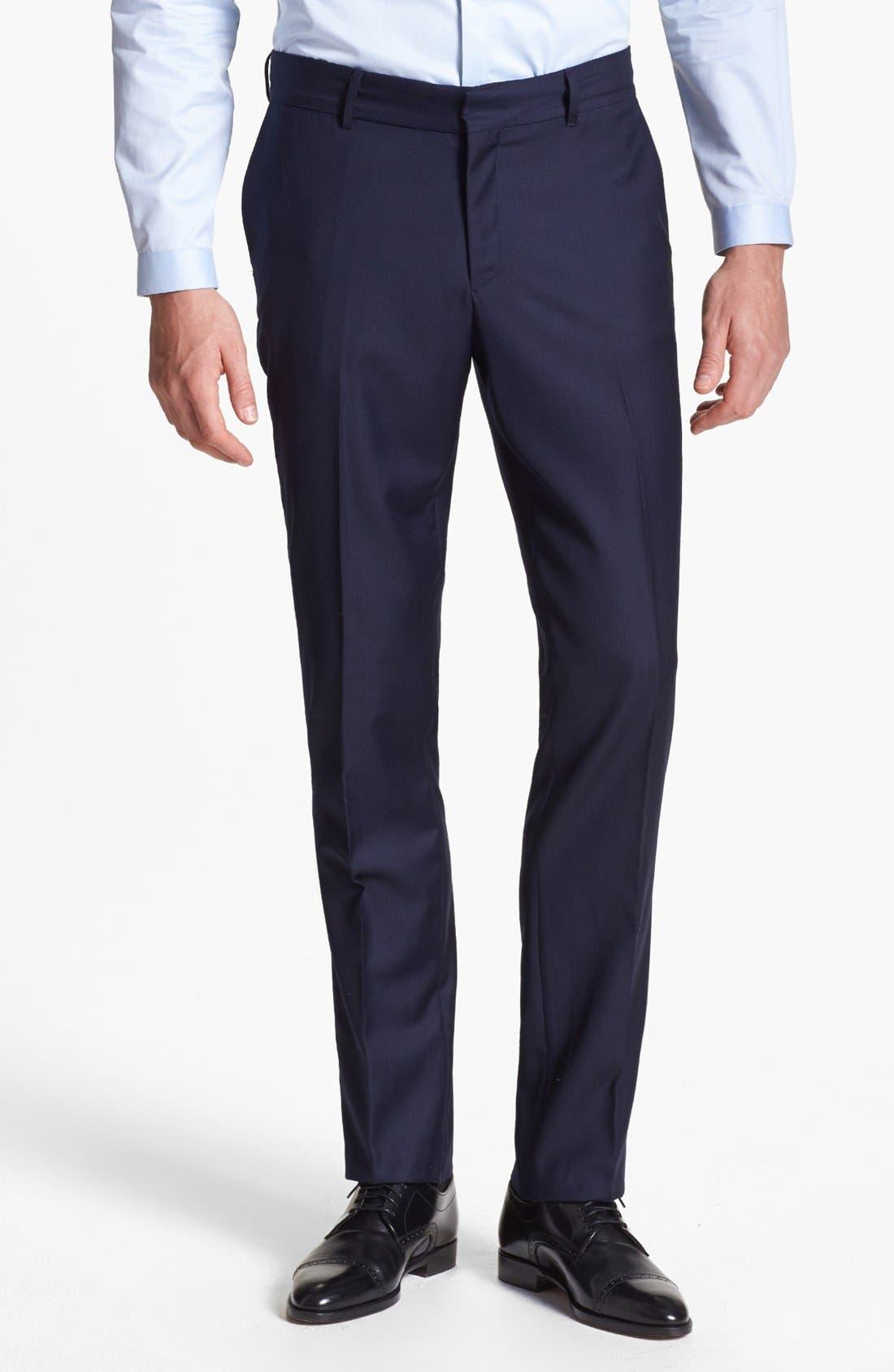 Main Image - The Kooples Slim Fit Navy Wool Trousers