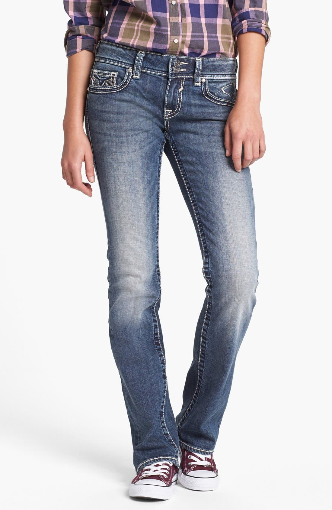 Alternate Image 2  - Vigoss Embroidered Flap Pocket Bootcut Jeans (Medium) (Juniors) (Online Only)
