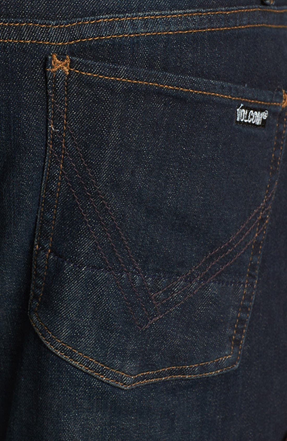 Alternate Image 4  - Volcom 'Vorta' Slim Straight Leg Jeans (Dark Blue Rinse)