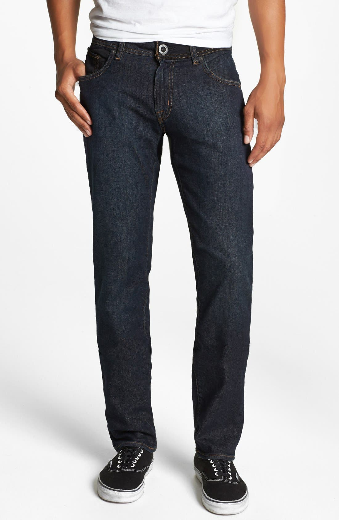 Alternate Image 2  - Volcom 'Vorta' Slim Straight Leg Jeans (Dark Blue Rinse)