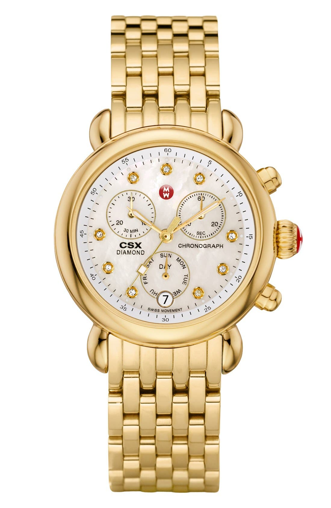 Alternate Image 2  - MICHELE 'CSX-36' 18mm Gold Plated Bracelet Watchband (Limited Edition)