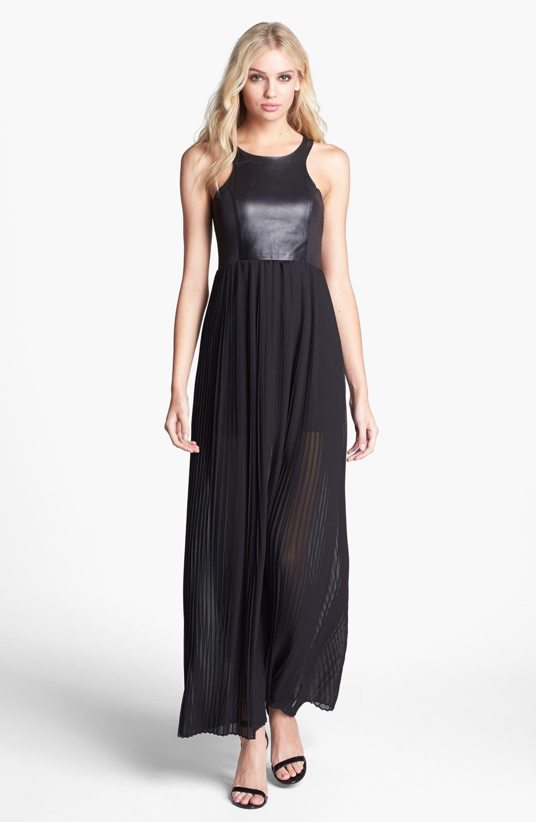 Alternate Image 1 Selected - BLAQUE LABEL Faux Leather & Pleat Chiffon Maxi Dress