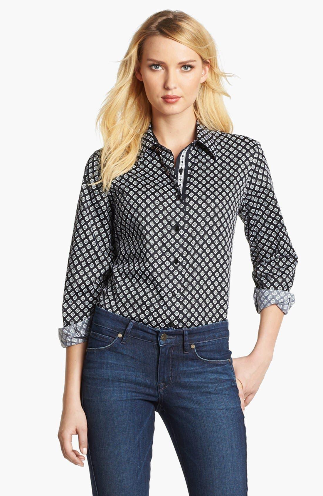 Alternate Image 1 Selected - Foxcroft Foulard Print Shirt (Petite)