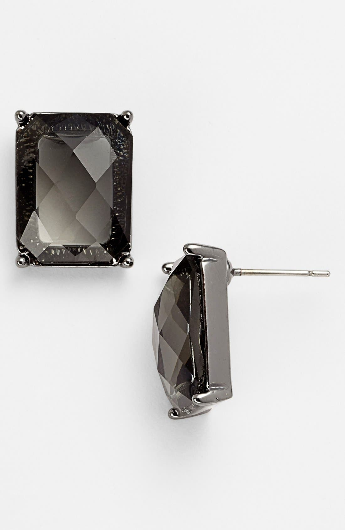 Alternate Image 1 Selected - Anne Klein Rectangular Stone Stud Earrings