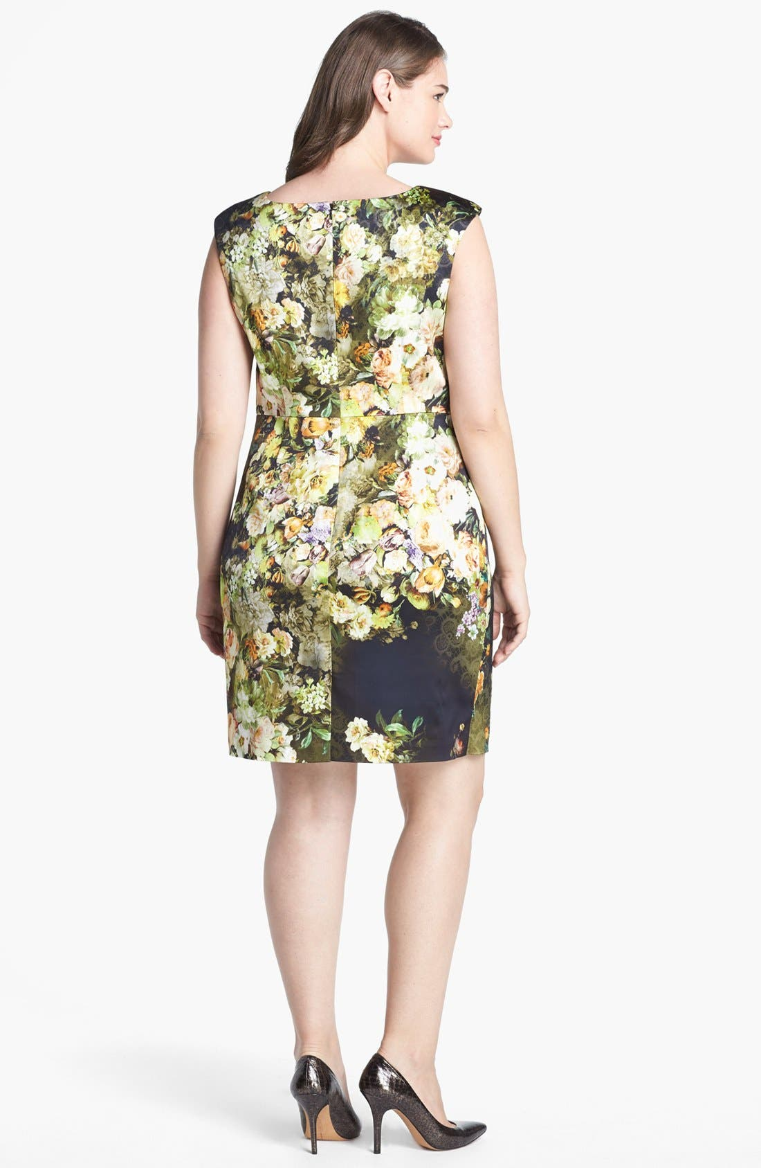 Alternate Image 2  - Kay Unger Print Satin Sheath Dress (Plus Size)