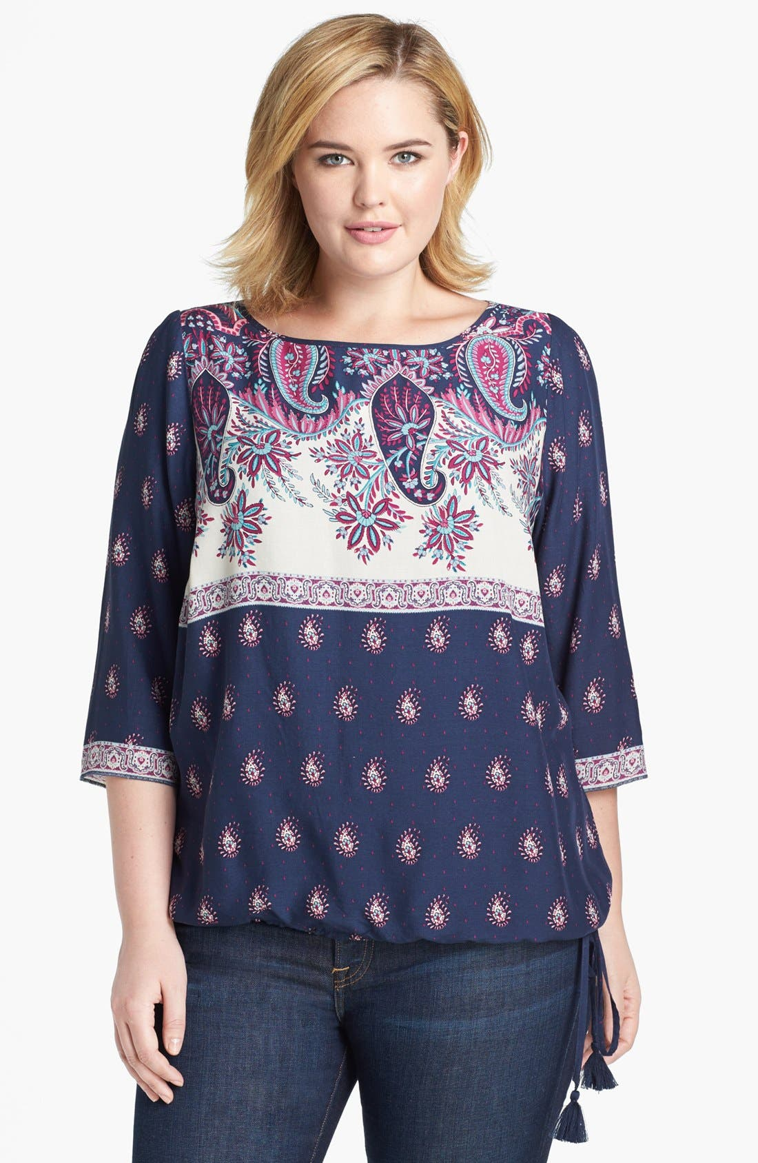 Alternate Image 1 Selected - Lucky Brand 'Larache' Mixed Print Blouson Top (Plus Size)