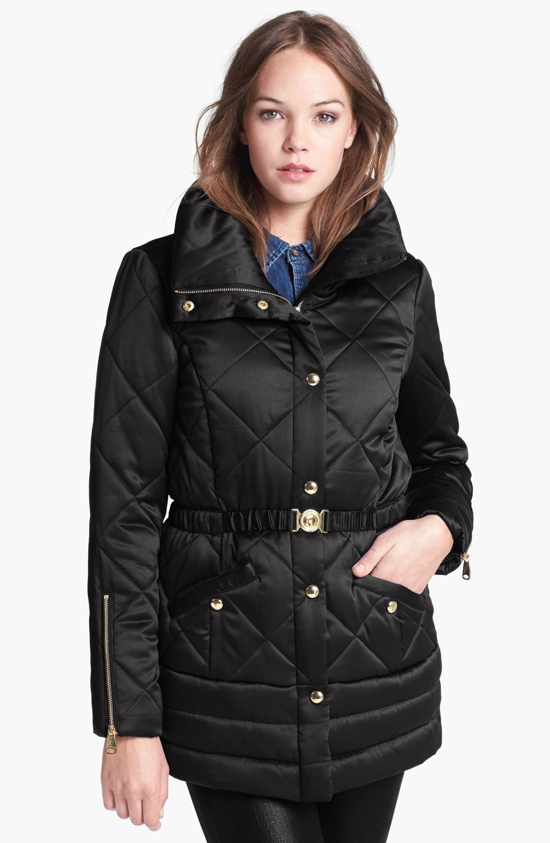 Main Image - Via Spiga Stand Collar Quilted Jacket