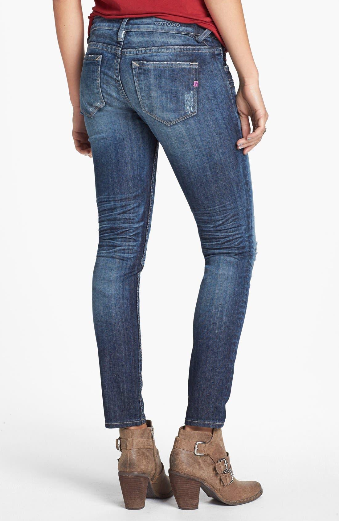 Alternate Image 2  - Vigoss Deconstructed Skinny Jeans (Dark Wash) (Juniors) (Online Only)
