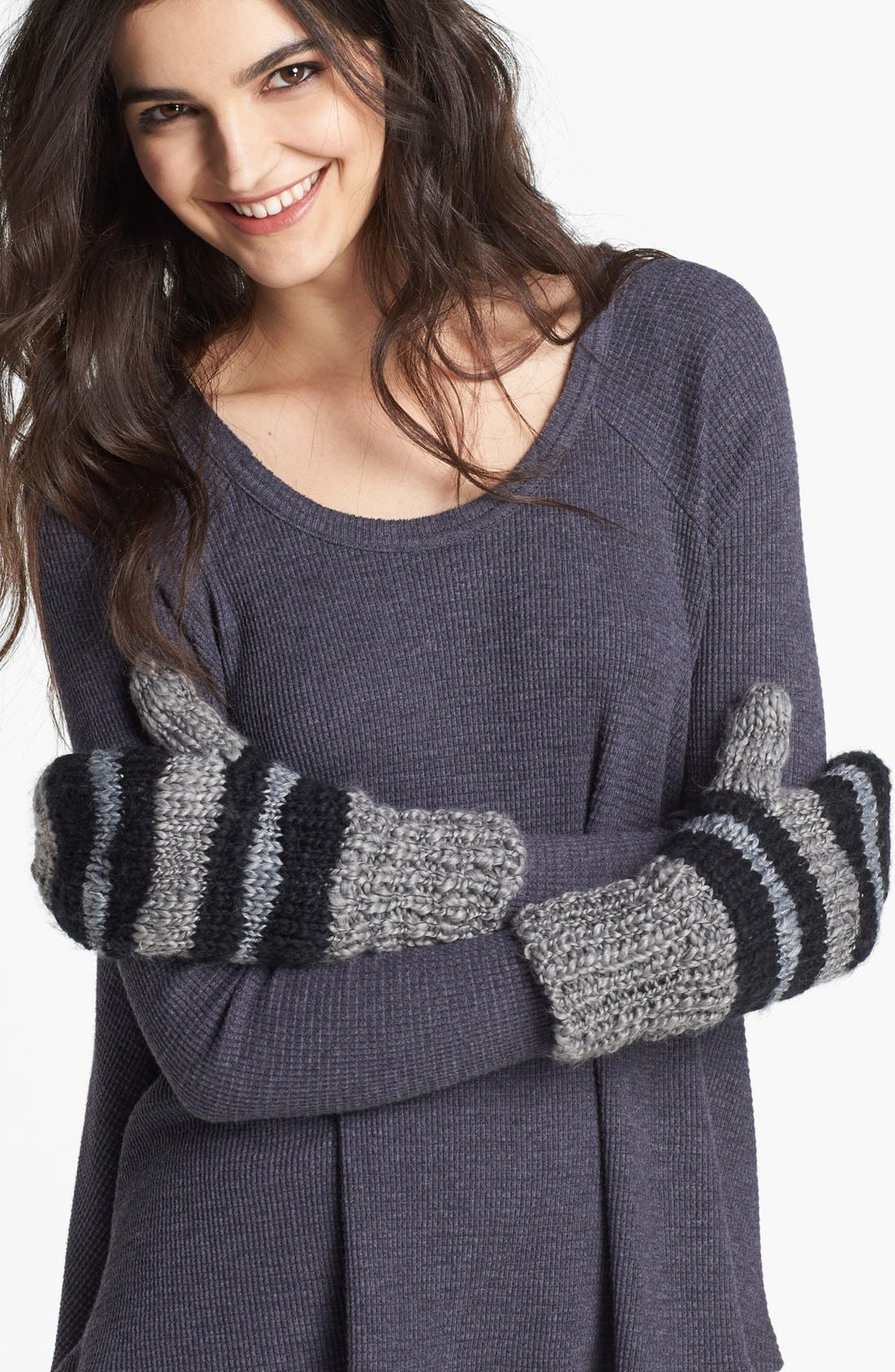 Main Image - Free People Stripe Knit Mittens