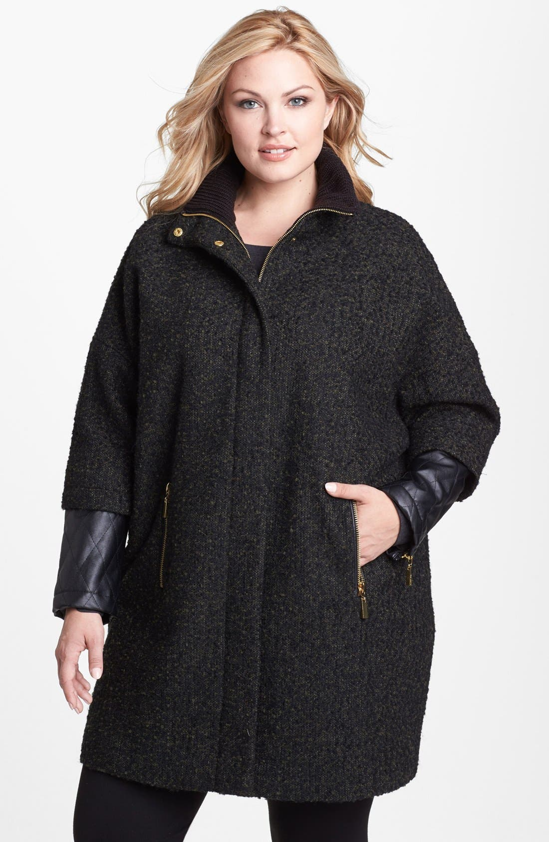 Main Image - Vince Camuto Faux Leather Sleeve Bouclé Tweed Coat (Plus Size)