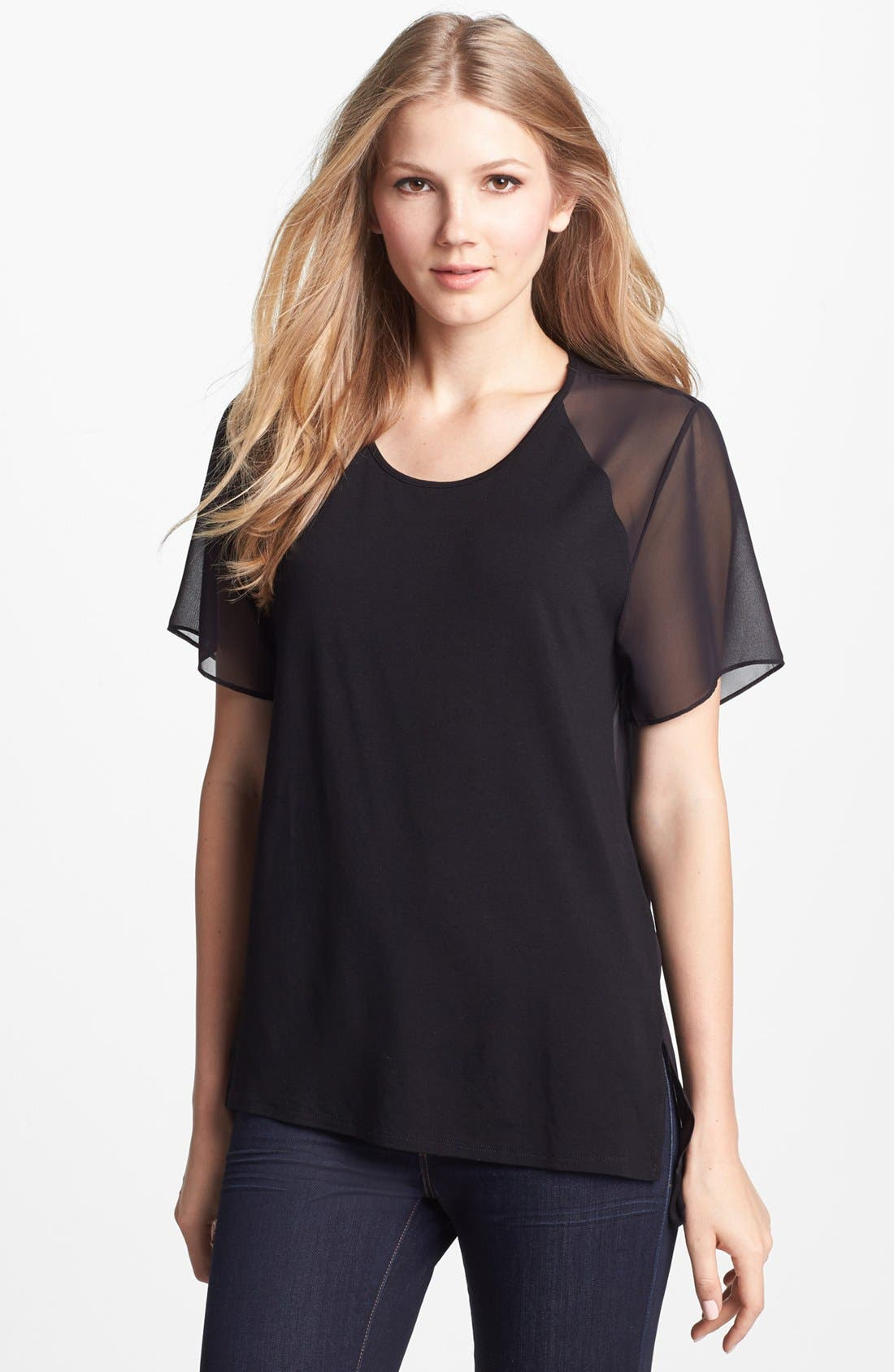 Alternate Image 1 Selected - Vince Camuto Chiffon Sleeve Mixed Media Tee