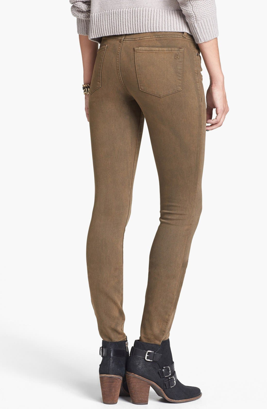 Alternate Image 2  - Articles of Society 'Mya' Overdyed Skinny Jeans (Army) (Juniors)
