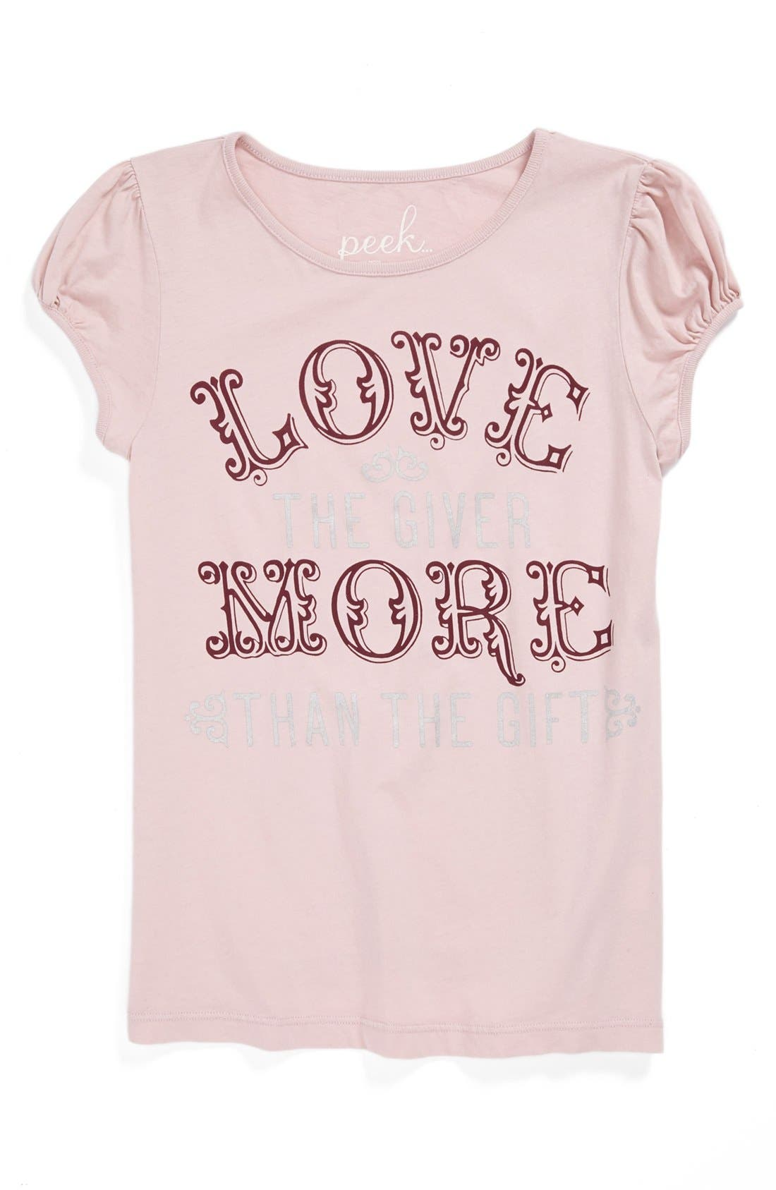 Alternate Image 1 Selected - Peek 'Love the Giver More Than the Gift' Tee (Toddler Girls, Little Girls & Big Girls)